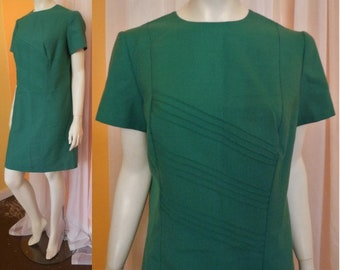 Vintage 1960s 70s Dress Green Cotton Blend Minidress Diagonal Pleats East German Mod Boho Festival L chest to 40 in.