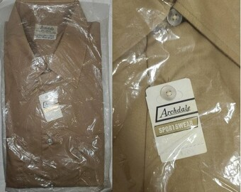 DEADSTOCK Vintage Men's Shirt 1960s Light Brown Tan Archdale Casual Shirt Cotton Poly Blend Short Sleeve Button Down Unworn NIP 16 16.5