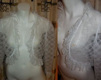 Vintage Lace Jacket 1960s White Lace Net Bolero Jacket Floral Patterned Lace Ruffles Rockabilly Boho Wedding Bridal M chest to 38 in.