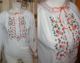 Vintage 1960s 70s Blouse White Peasant Blouse Multicolored Floral Hand Embroidery Lily Boho Festival M chest to 38 in.