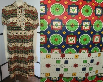 Vintage 1960s Dress Bright Red Cream Blue Green Medallion Print Nylon Dress Front Chest Bow Mod XL chest 46 in.