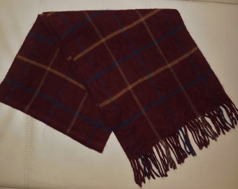 SALE Vintage Cashmere Scarf Maroon Plaid Fringe Scarf Royal Rossi Made in Inner Mongolia Rockabilly Kashmir Schal 62.5 inches long