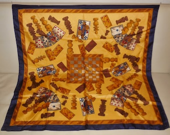 Vintage Silk Scarf Large Lancelot Designer Silk Scarf Game Motif Playing Cards Chess Dominos Blue Gold 34 x 35 in.