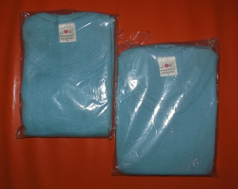 Deadstock 1970s Men's Underwear 2 Vintage Tank Top Undershirts Light Blue German Unterweste 100% Cotton Joie Unworn NIP 7 L