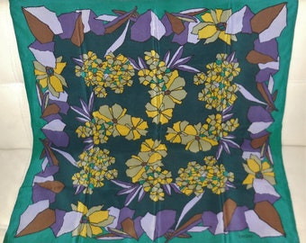 Vintage Silk Scarf Loredano Italy 1960s 70s Large Designer Silk Scarf Purple Green Abstract Floral Pattern 29.5 x 30 in.