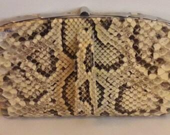 Vintage Snakeskin Purse 1930s 40s Yellow Beige Snakeskin Clutch Purse Great Markings German Art Deco 8 x 5.5 in.