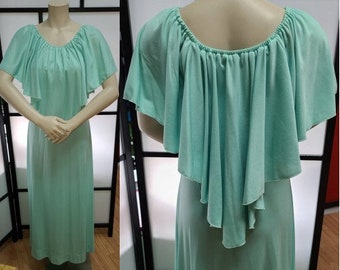 Vintage 1970s Gown 1930s Style Long Seafoam Green Thin Polyester Maxidress Long Dress Cape Shawl Neckline Boho Disco Deco S chest 35 in.