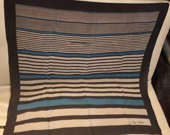 Vintage Silk Scarf Blue Gray Striped Minimalist Silk Chiffon Scarf Nina Belotti Horizontal Line Pattern Scarf Boho 30 in. sq.