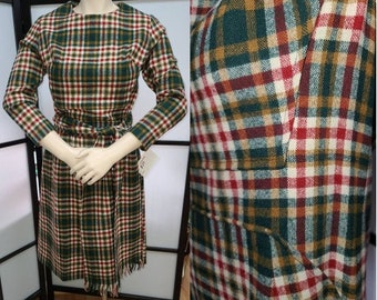 Vintage 1950s 60s Pencil Dress Plaid Wool Wiggle Dress Matching Long Scarf Rockabilly S chest 36 in.