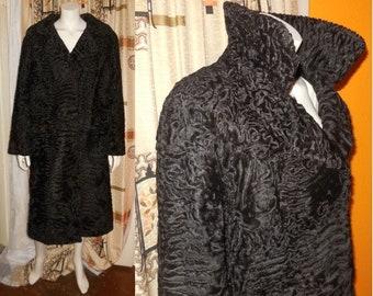 Vintage Fur Coat 1960s 70s Long Black Swakara Broadtail Persian Lamb Fur Coat Satin Lining Boho Fur Coat M L some issues