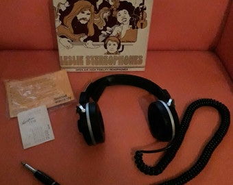 Vintage Headphones In Box 1960s 70s Leslie Stereophones Open Air High Fidelity W4 Bass Selector Made In Japan Great Box Graphics