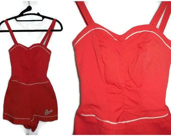 Vintage 1940s Bathing Suit Red Catalina Swimsuit Flying Fish Logo Sweetheart Bust Boning Rockabilly VLV Pinup XS S chest to 32 in
