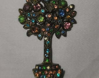 Vintage Tree Brooch 1960s Multicolor Pastel Rhinestone Potted Tree Pin 2 in. high