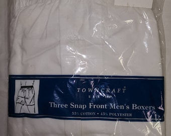 DEADSTOCK Vintage Men's Boxer Shorts 3 Pair 1980s 90s White Cotton Towncraft Snap Fly Boxer Underwear NIP Rockabilly 36
