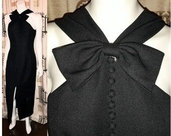 Vintage Black Dress 1960s Style Cocktail Club Dress Unique Cutout Bow at Chest Boning Tight Wiggle Dress M chest to 38 in.