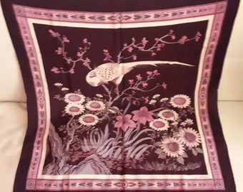 Vintage Silk Scarf 1970s 80s Large Sevini Designer Silk Scarf Purple Plum Mauve Floral Scene with Bird Boho 31 x 33 inches a few pinholes