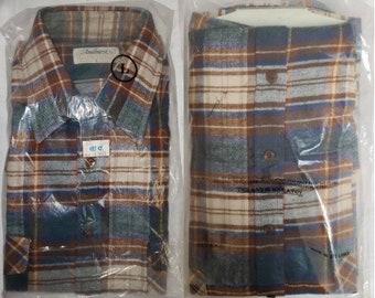 DEADSTOCK Vintage Men's Shirt 1990s Andhurst Brown Green Cream Plaid Cotton Flannel Shirt Unworn NWT Grunge Rockabilly L