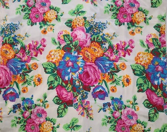 Vintage Floral Scarf Large Bright Polyester Scarf Flowers Paul Harris Italy Boho 30.5 x 30.5 in.