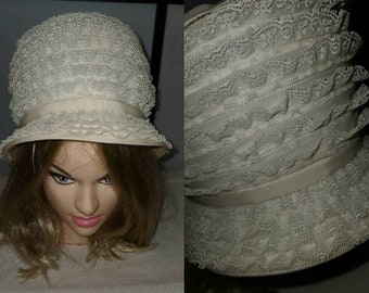 Vintage Lace Hat 1960s Tall Round White Lace Ruffle Pouf Hat Small Brim Back Bow Mod Boho Wedding Bridal 21.5 in.