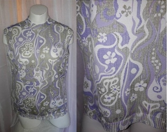 Vintage 1960s Top Sleeveless White Purple Green Psychedelic Pattern Top Shirt Back Zip Mod Boho L XL chest to 42 in.