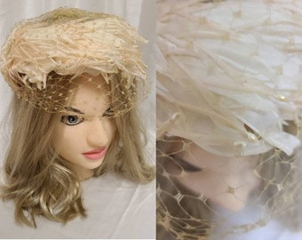 Vintage Floral Hat 1950s Round Pink Cream Floral Hat Silk Petals Seed Pearls Cream Net Veil Garden Party Church Rockabilly Wedding 19 in.