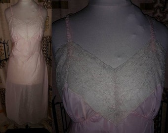 Vintage 1940s Slip Pink Nylon Slip Fine Beige Lace Belding Corticelli USA Art Deco Rockabilly XS chest 32 in.