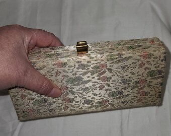 Vintage Clutch Purse Small 1950s Gold Metallic Floral Brocade Box Clutch Cocktail Purse Rockabilly 8 x 4 in.