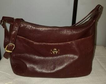 Vintage Designer Purse 1980s Etienne Aigner Dark Oxblood Leather Shoulder Strap Purse Handbag Shoulder Bag Goldtone Metal A Logos Boho