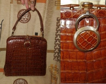 Vintage Alligator Purse 1950s Rust Brown Alligator Handbag Unique Ornament Elegant Rockabilly Breakfast at Tiffany's