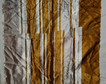 Vintage Abstract Scarf 1960s Shiny Rust Cream Gray Acetate Scarf Op Art Made in Japan Mod 30.5 x 31 in.