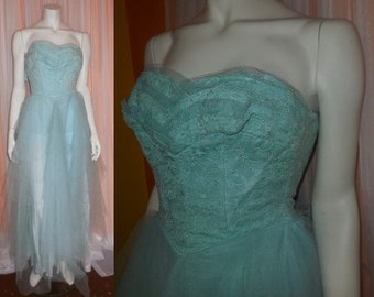 Vintage 1950s Prom Dress Long Light Blue Net Gown Strapless Lace Sweetheart Bust USA Rockabilly XS chest to 32 in. as is