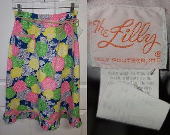 SALE Vintage 1970s Designer Lilly Pulitzer Skirt Bright Abstract Floral Print Boho M waist 28 in.