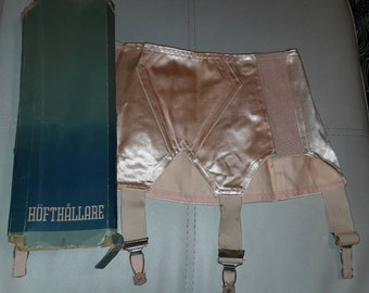 Unworn Vintage Girdle 1950s Pink Satin Open Bottom Girdle Garter Belt in Box German Pinup Rockabilly S waist 27 in.