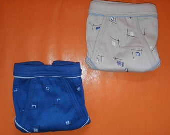 Unworn Vintage Men's Underwear 2 Pair 1980s Colored Geo Patterned Briefs Blue and Gray 100% Cotton German New Wave sz 5 S M