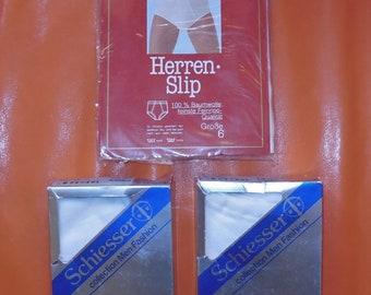 Deadstock 1980s Men's Underwear 3 Pair Vintage Bikini Brief German White 100% Cotton Schiesser Sir Winston Unworn NIP sz 6 M