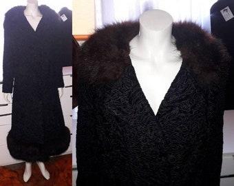 Vintage Fur Coat 1960s Long Black Persian Lamb Fur Swinger Coat Brown Fox Fur Collar and Trim German Boho Fur Coat M L chest to 42 in.