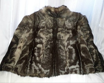 Vintage Fur Cape 1930s 40s Sleek Animal Print Fur Stole Beige Black Gorgeous Markings German Art Deco M L