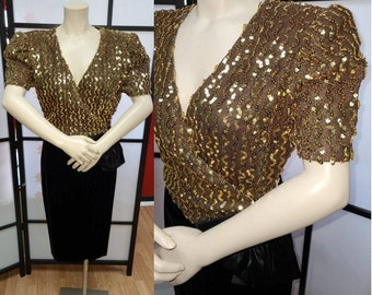 Vintage Sequin Dress 1980s Gold Sequin Black Velvet Dress Crossover Bust Trophy Dress by if New York Paris Boho Disco M chest 38 in.
