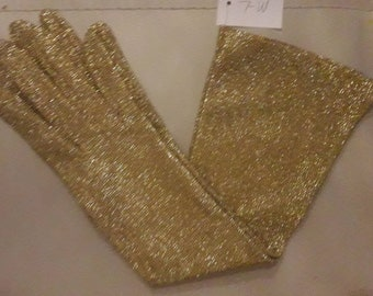 Vintage 1950s 60s Gloves Gold Metallic Glitter Lame Fabric Mid Length Gloves Unworn USA Mod 7 7.5