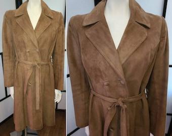 Vintage Suede Coat Long 1960s 70s Light Brown Buttery Soft Suede Coat Classic Boho M L