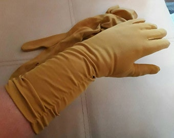 Vintage Gloves 1950s 60s Longer Mustard Yellow Ruched Nylon Gloves Rockabilly Glamour 7 1/2
