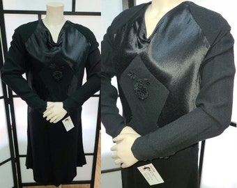 Vintage 1930s Wool Satin Dress Embroidered Rose German Art Deco Flapper Dress M L chest hips to 40 in. a few issues