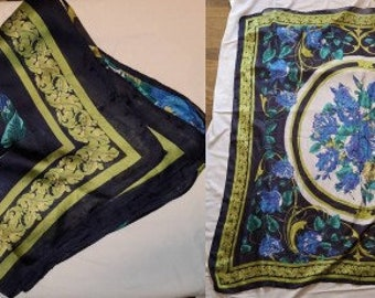 Vintage Silk Scarf Extra Large 1970s 80s Thin Silk or Nylon Scarf Blue Green Floral Medallion Print Large Wrap Boho 47 x 47.5 in.