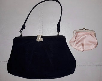 Vintage 1950s Purse Small Black Fabric Evening Bag Jeweled Clasp with Coin Purse Rockabilly