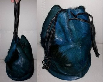 Vintage Fur Bag 1970s Dyed Blue Fur Round Drawstring Tote Bag Purse Amazing Color Variations Germany Hippie Boho