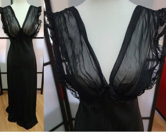 Vintage 1930s 40s Nightgown Exquisite Black Laros Floor Length Negligee Sheer Bust Bias Cut Rayon Art Deco Pinup 34