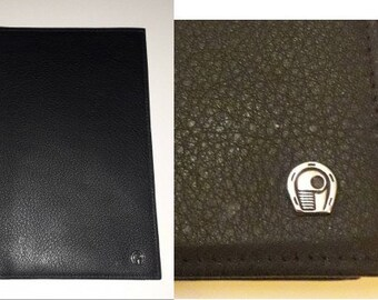 Men's Unused Vintage Wallet 1970s 80s Soft Black Leather Billfold Document Holder NWT German Boho