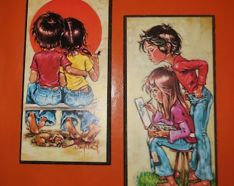 Pair of Vintage 1960s 70s Big Eye Kids Wall Plaques Small Pictures Wall Hangings German Pop Mod Go Go Painting Sunset Couple 10 x 5 inches