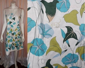 Vintage 1960s Dress Adorable White Cotton Blue Green Floral Print Shift Dress Summer Mod Boho L chest to 41 in.