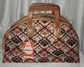 Unused Vintage Bag 1960s Tan Brown Cream Orange Woven Argyle Pattern Vinyl Carry On Sports Bag Unused Luggage NWT Mod